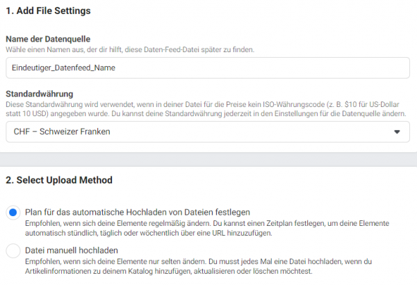 Datenfeed Set up
