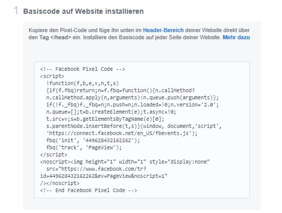 Beispiel des Facebook Basis Pixels von der Hutter Consult AG