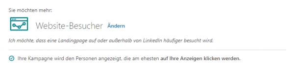"""LinkedIn Kampagnen-Ziel """"Website-Besucher"""""""