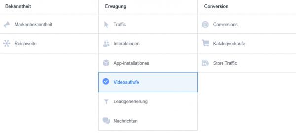 Übersicht Facebook Kampagnen-Ziele