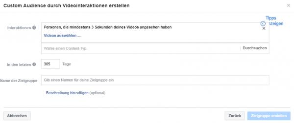 Beispiel einer Video Custom Audience mit mind. Abspieldauer von 3 Sekunden in den letzten 365 Tagen
