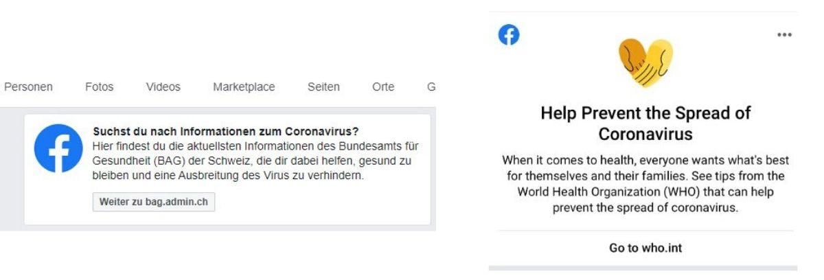 Suchergebnis «Coronavirus» auf Facebook