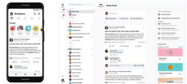 News Feed in Workplace auf Mobile und Desktop