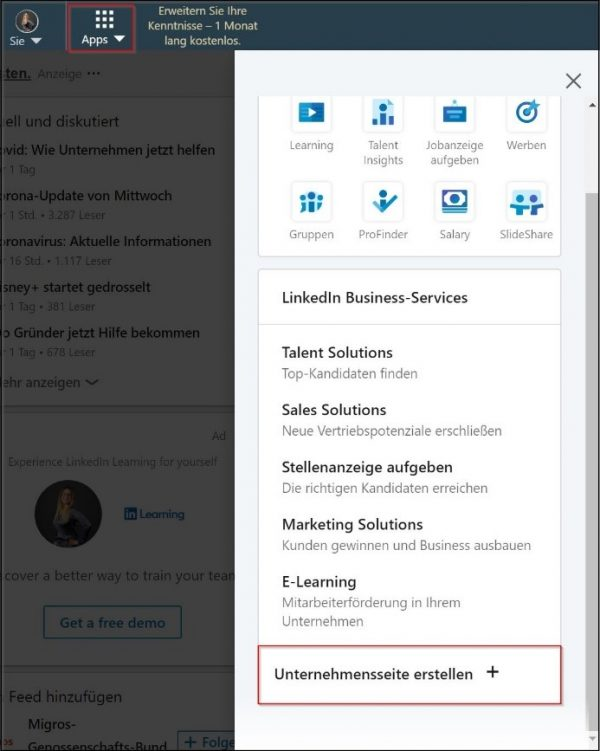 Erste Schritte zum Eröffnen einer Unternehmensseite (Quelle: LinkedIn)