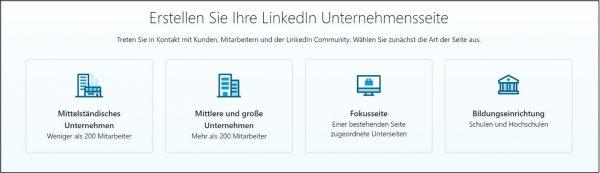 Auswahl an Unternehmensseiten (Quelle: LinkedIn)