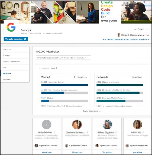 """Übersicht der Rubrik """"Personen"""" von der Google Unternehmensseite (Quelle: LinkedIn)"""