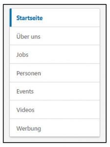Taskleiste Unternehmensseite (Quelle: LinkedIn)