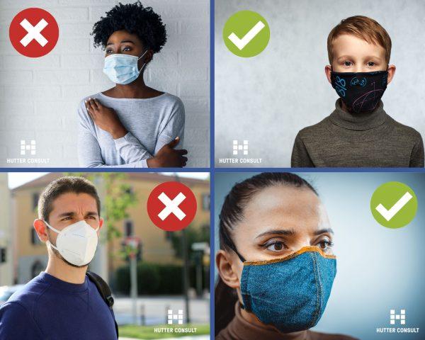 Beispiel erlaubte / nicht erlaubte Masken auf Facebook