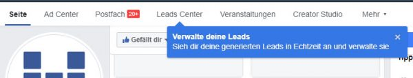 Das neue Leads Center innerhalb der Facebook Seite
