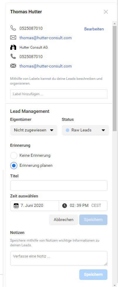 Leadinformationen im Leads Center von Facebook