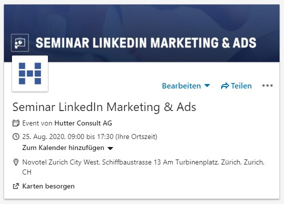 Eventübersicht (Quelle: LinkedIn Event)