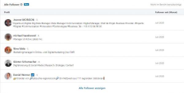 Übersicht der Follower einer Unternehmensseite (Quelle: LinkedIn)