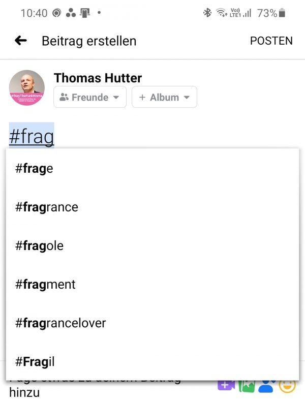 Hashtag-Vorschläge beim Erstellen eines Beitrages