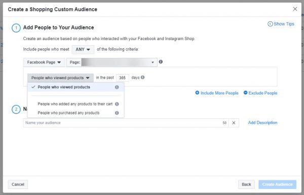 Auswahlmöglichkeiten für Custom Audiences basierend auf Shopping