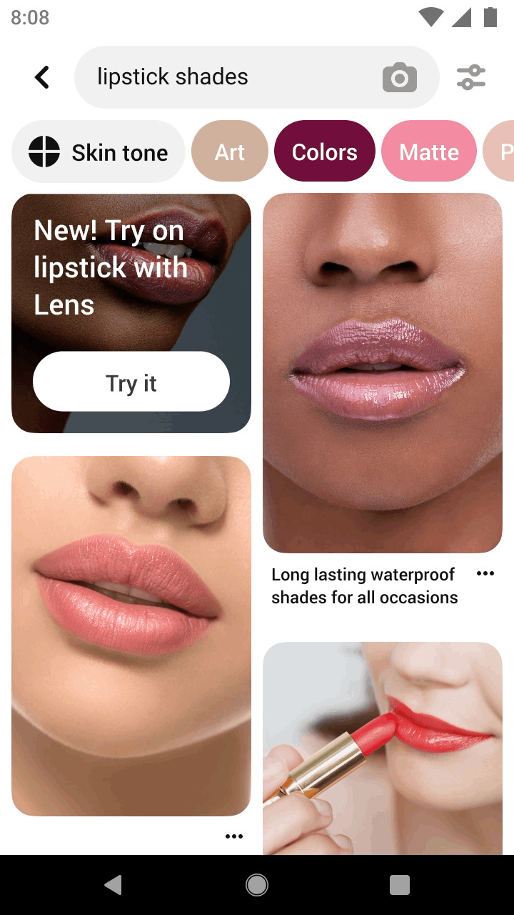Pinterest - «Try On» Lippenstift-Funktion