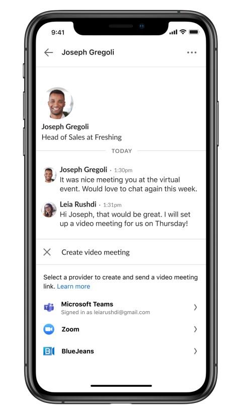 Video-Meeting über LinkedIn Nachrichten starten (Quelle: LinkedIn)