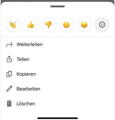 Nachrichten bearbeiten auf dem Mobile (Quelle: LinkedIn)