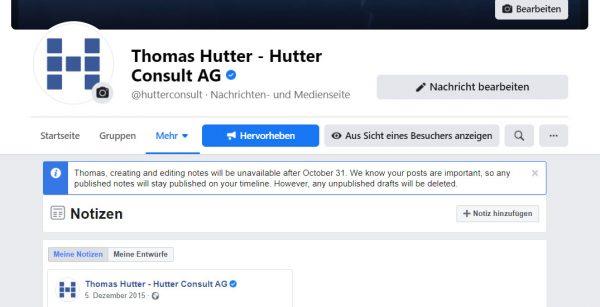 Facebook Notizen können ab dem 31.10. nicht mehr erstellt oder bearbeitet werden