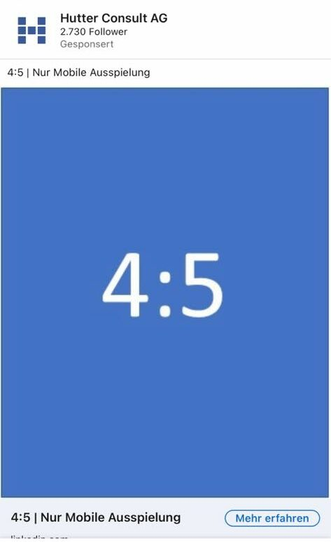 Single Image Ad Vorschau 4:5 (Quelle: LinkedIn)
