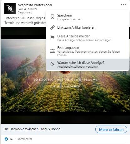 Anzeigeeinstellungen verwalten im Newsfeed (Quelle: LinkedIn)