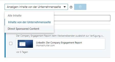 Vorhandenen Content im Ad Account (Quelle: LinkedIn)