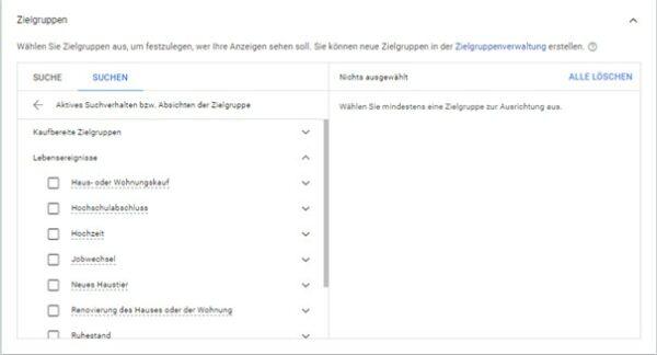 Lebensereignisse im Google Ads Werbekonto