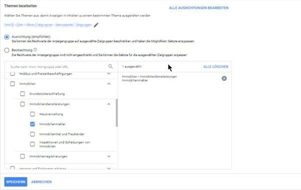 Themenbezogene Ausrichtung im Google Ads System definieren