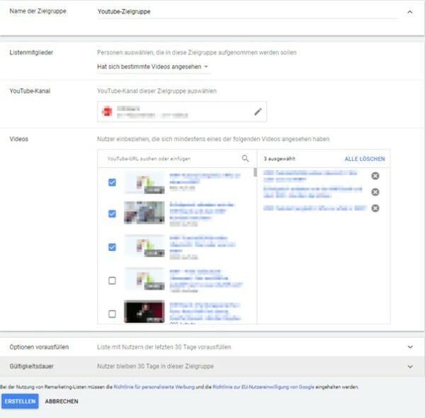 Youtube-Zielgruppen im Google Ads Werbekonto erstellen