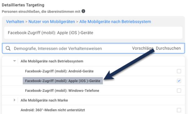 Einschränkung der Zielgruppe auf iOS-Nutzer. Screenshot: Facebook Business Manager.