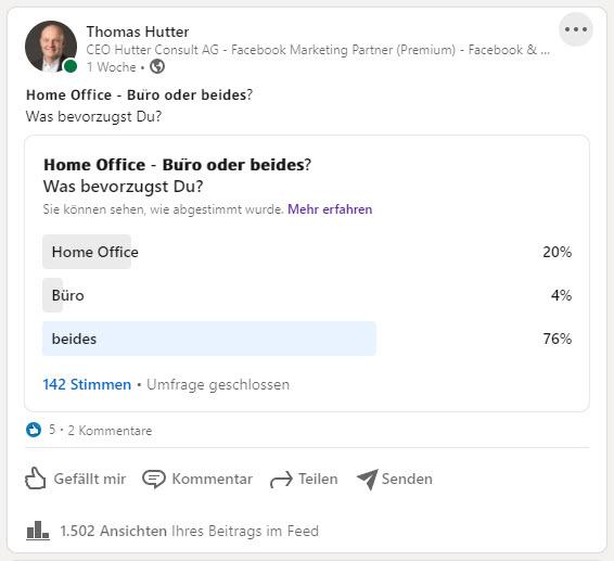 """Abstimmung auf LinkedIn via """"Abstimmung"""""""