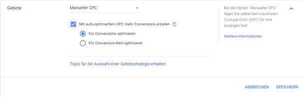 Aktivierung vom auto-optimierten CPC im Google Ads Werbekonto