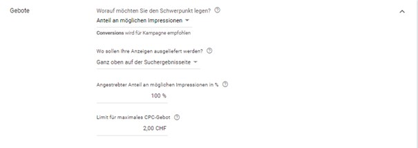 Einrichtung «Angestrebter Anteil an möglichen Impressionen» im Google Ads System