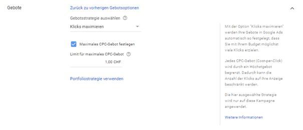 Festlegung des maximalen CPC-Gebots bei der Gebotsstrategie Klicks maximieren