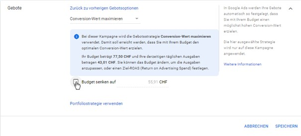 Vorgeschlagene Budgetsenkung im Google Ads System