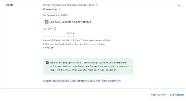 Vorgeschlagener Ziel-CPA im Google Ads System