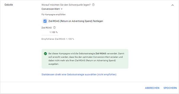 Vorgeschlagener Ziel-ROAS im Google Ads System