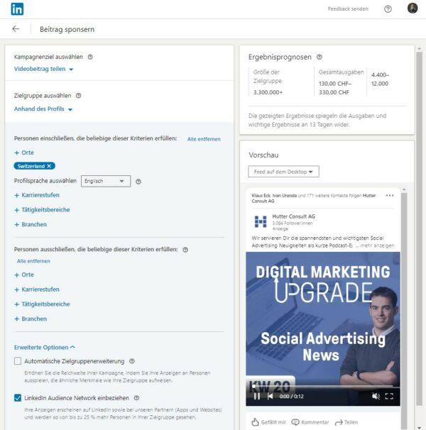 Übersicht Post Boosting Einstellungen (Quelle: LinkedIn)