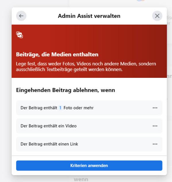 Facebook Admin Assist: Beiträge, die Medien enthalten