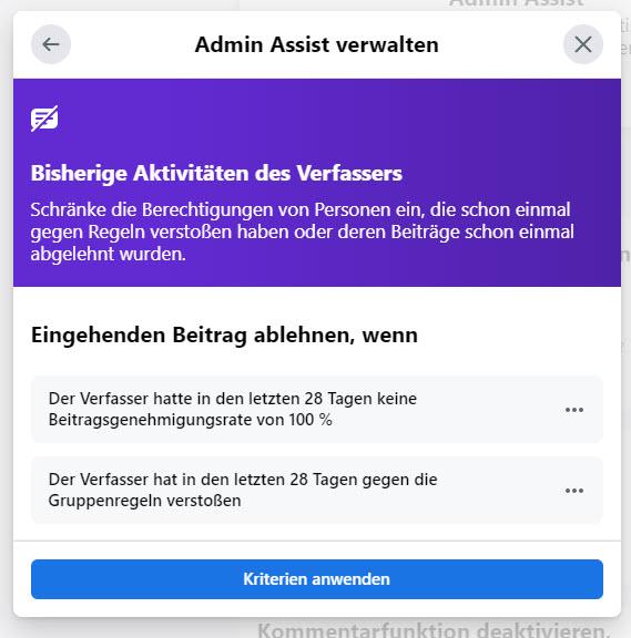 Facebook Admin Assist: Bisherige Aktivitäten des Verfassers