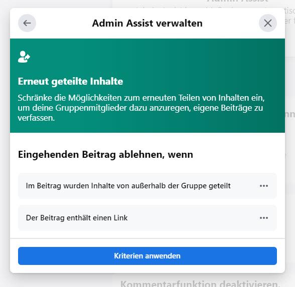 Facebook Admin Assist: Erneut geteilte Inhalte