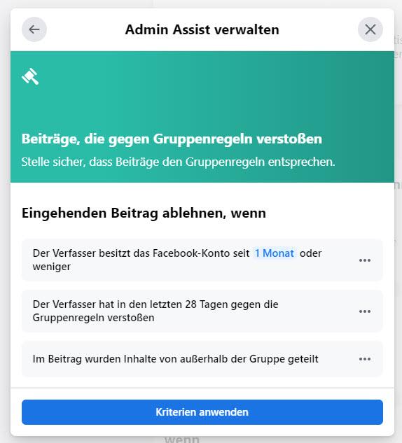 Facebook Admin Assist: Eingehenden Beitrag ablehnen, wenn