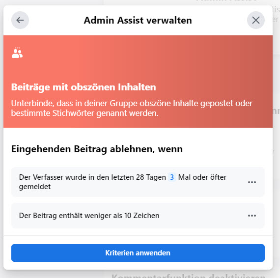 Facebook Admin Assist: Beiträge mit obszönen Inhalten