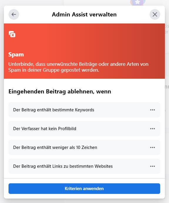 Facebook Admin Assist: SPAM
