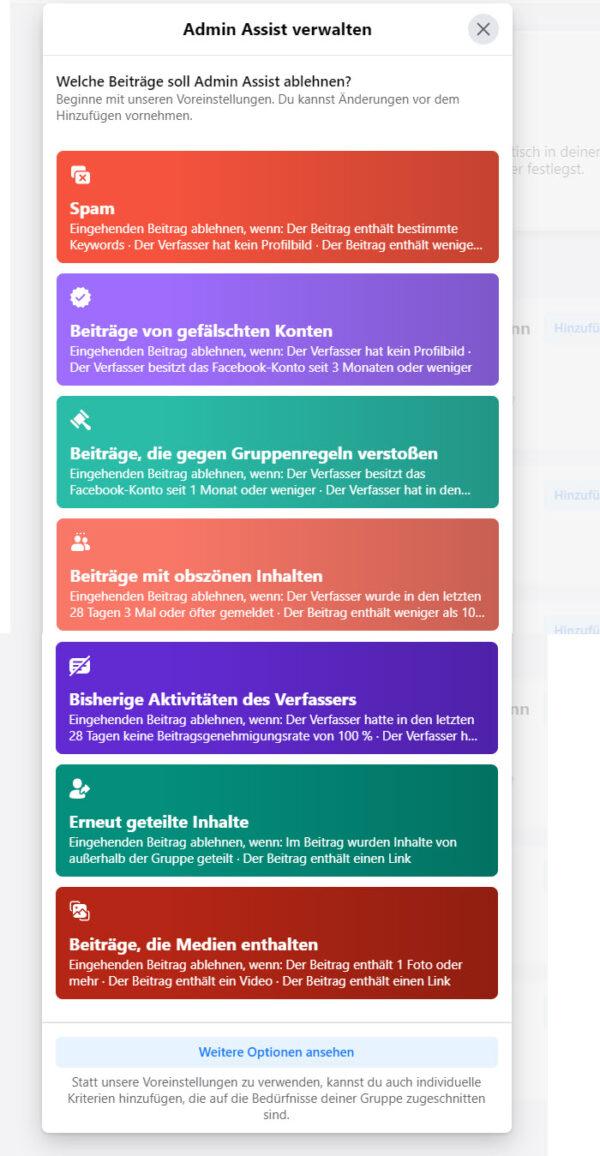 Facebook Admin Assist: Verwaltung
