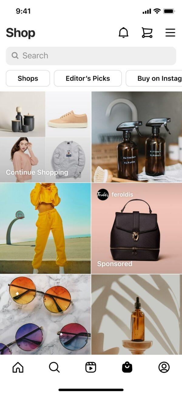 Darstellung Ad im Instagram Shop (Quelle: Instagram)