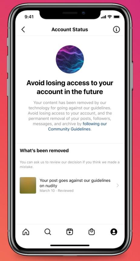 Im Account Status werden Personen darüber informiert, wenn eine Deaktivierung des Accounts bevorsteht. (Quelle: Instagram Newsroom)